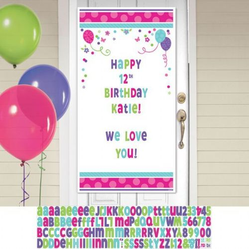 Pink Teal Happy Birthday Personalise It Door Decoration Kits